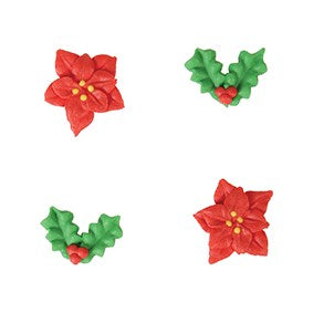 Christmas Holly & Poinsettia Sugar Toppers - 20 Pack