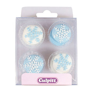 Snowflake Sugar Toppers - 12 pack