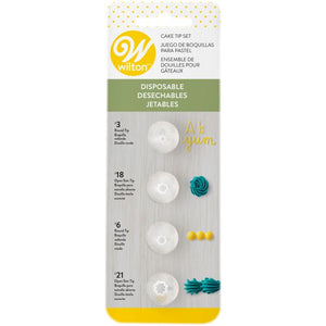WILTON : DISPOSABLE TIP SET OF 4 - NO 3, 18, 6, 21