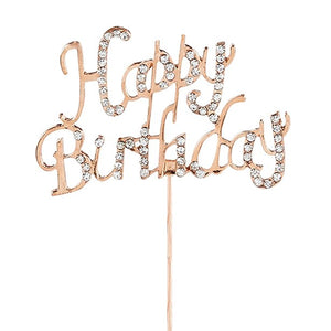 Rose Gold Rose Quartz Diamante 'Happy Birthday' Topper