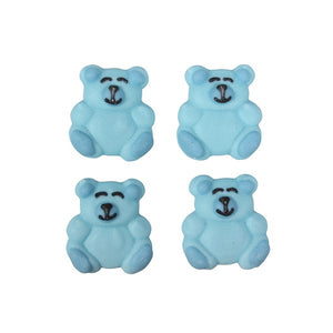 Blue Teddy Bear Cake Toppers - 12 Pack