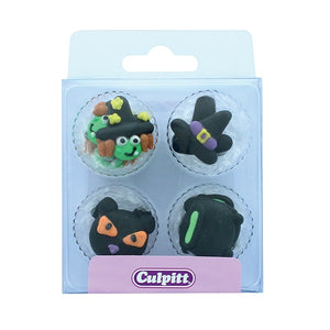 Halloween Cat and Witch  Cake Decorations - 12 PK