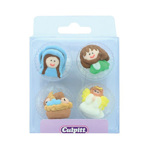 Mary, Joseph, Jesus Nativity Cake Decorations - Culpitt - 12 Pack