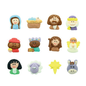 Nativity Theme Sugar Cake Decorations - 12 PK