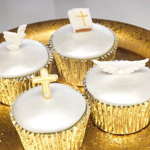 Christening/Communion/New Baby Angel Wings Sugar Cake Decorations - Pack of 12