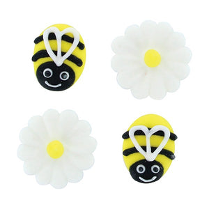 Bee and Daisy Summer Sugar Cake Decorations - Pack of 12