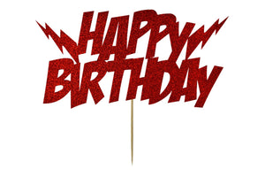 Cake Topper - Happy Birthday  - Lightening Bolts Red Superhero