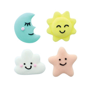 Baby Dream Handmade Sugar Decorations: Pastel Sun, Moon, Cloud and Star Toppers (Pack of 12)