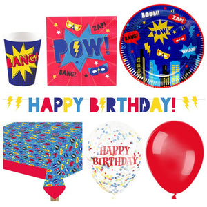 Superhero Birthday Party Tableware Table Supplies Deluxe Party Pack for 16 Guests