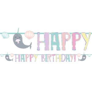 Narwhal Happy Birthday Banner