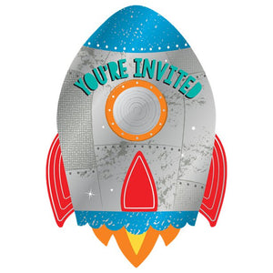 Rocket Shaped Invitations - 8 pack : Blast Off Birthday by Amscan
