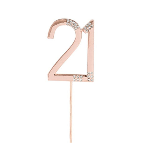 Rose Gold Rose Quartz Diamante '21' Topper