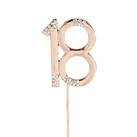 Rose Gold Rose Quartz Diamante '18' Topper