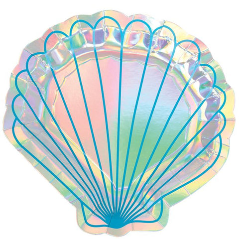 Mermaid Wishes Iridescent Shell Shaped Plates - 18cm