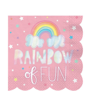 Large Paper Party Napkins 33cm - 16 pack : Magical Rainbow by Amscan