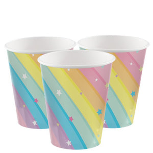 Paper Party Cups - 266ml - 8 pack : Magical Rainbow by Amscan