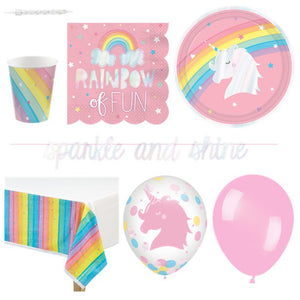 Magical Unicorns & Rainbows Partyware Kit - 8 Guests