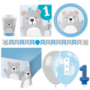 Birthday Bear 1st Birthday Party Pack - Deluxe Kit for 16