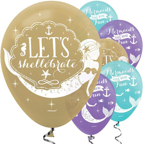 "Mermaid Wishes Balloons - 12"" Latex - 6 Pack"