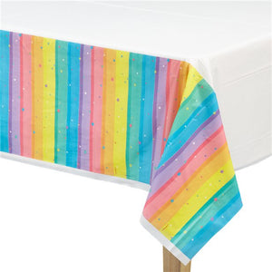 Plastic Party Tablecover 137 x 243 cm : Magical Rainbow by Amscan