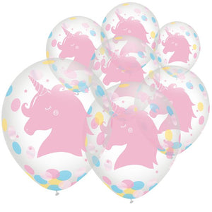 Latex Confetti Balloons 6 pack : Magical Rainbow by Amscan