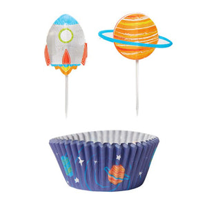 24 Cupcake Cases & 24 Space Cupcake Picks : Blast Off Birthday by Amscan