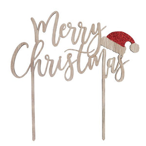 Merry Christmas Wooden Cake Topper from Club Green