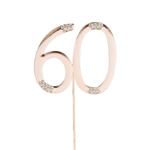 Rose Gold Rose Quartz Diamante '60' Topper