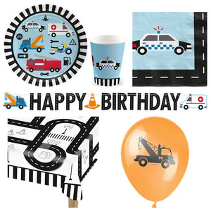 On The Road Transport Vehicle Cars Theme Deluxe Party Pack for 16