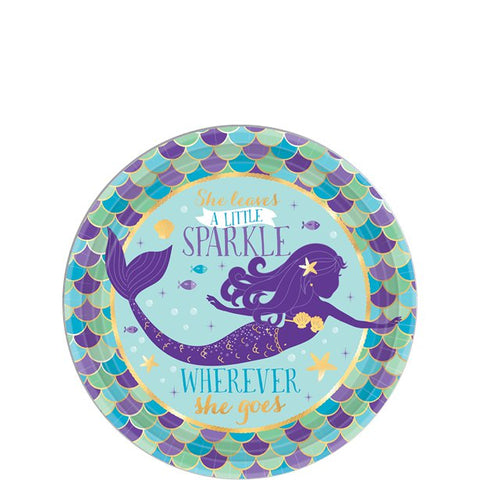 Mermaid Wishes Party Small Round Dessert Plates 18cm