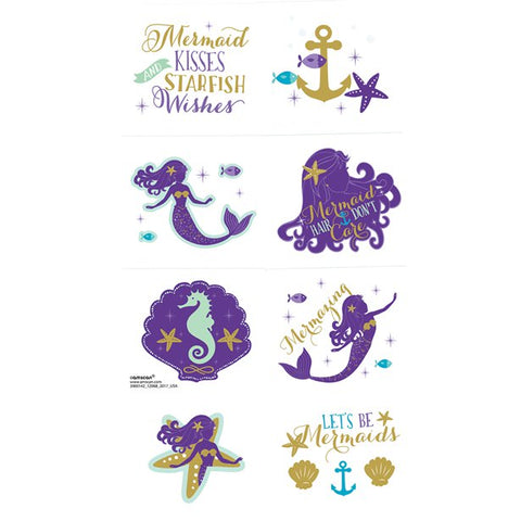 Mermaid Wishes Party - 8 Temporary Mermaid Tattoos