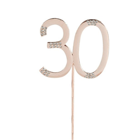 Rose Gold Rose Quartz Diamante '30' Topper