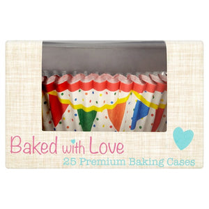 Bright Primary Multi Colour Bunting FOIL LINED Cake Cases - 24 pack