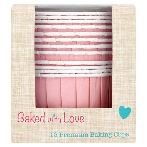 Pink Baked with Love Baking Cups - Pack of 12