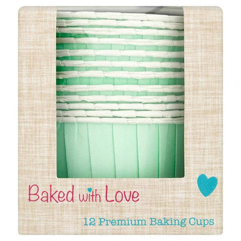 Aqua Baked with Love Baking Cups - Pack of 12
