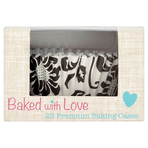 Black & White Elegance FOIL LINED Cake Cases - 24 pack