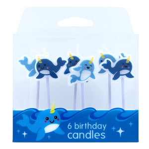 Narwhal Whale Birthday Candles - Pack of 6