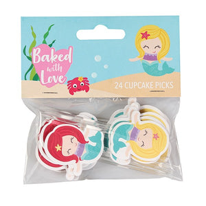 Mermaid Cupcake Picks - Baked with Love - 24 Pack