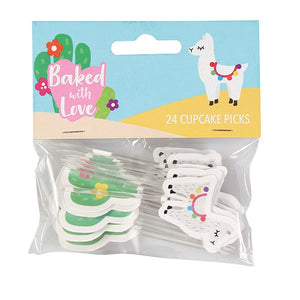 LLama & Cactus Cupcake Picks - Baked with Love - 24 Pack