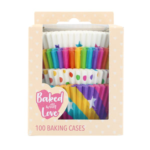 Baked With Love Rainbow Baking Cases - 100 Selection Pack