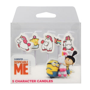 Despicable Me Minion Fluffy Unicorn Cake Candles - 5 PK