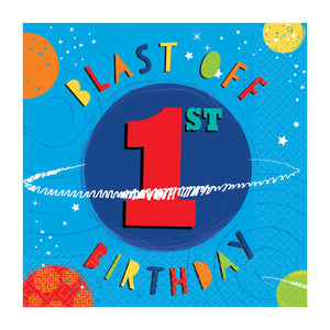 Paper Party Lunch Napkins 33cm - 1st Birthday - 16 pack : Blast Off Birthday by Amscan