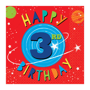 Paper Party Lunch Napkins 33cm - 3rd Birthday - 16 pack : Blast Off Birthday by Amscan
