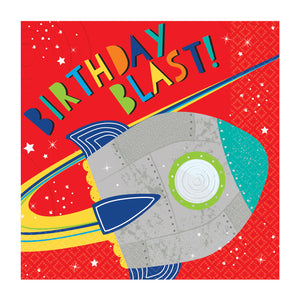 Paper Party Lunch Napkins 33cm - 16 pack : Blast Off Birthday by Amscan