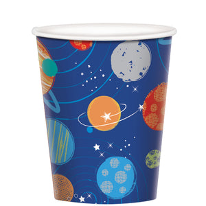 Paper Party Cups 266ml - 8 Pack : Blast Off Birthday by Amscan
