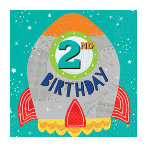 Paper Party Lunch Napkins 33cm - 2nd Birthday - 16 pack : Blast Off Birthday by Amscan