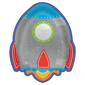 Rocket Shaped Paper Party Plates 18cm - 8 pack : Blast Off Birthday by Amscan