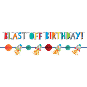 Birthday Banner 2 Pack - 1.5m Letter banner 1.76m Mini Banner : Blast Off Birthday by Amscan