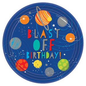 Round Paper Party Plates 23cm - 8 pack : Blast Off Birthday by Amscan