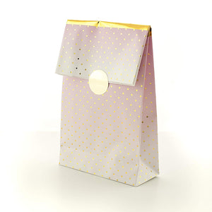 Party Treat Bags - Premium Pink Ombre and Gold Foil Finish (Pack 8)